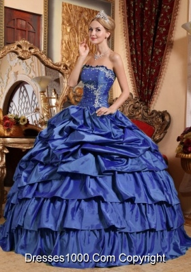 2014 Blue Puffy Strapless Appliques and Pick-ups Quinceanera Dresses with Ruffled ledLayers