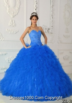 2014 Blue Puffy Sweetheart Satin and Organza Beading Quinceanera Dress