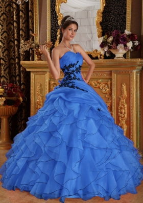 2014 Brand New Blue Puffy Sweetheart Appliques Quinceanera Dress with Ruffles