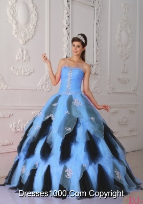 2014 Colourful Princess Strapless Appliques Quinceanera Dress with Beading