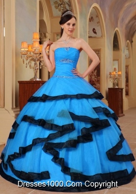 2014 Fashionable Aqua Blue Puffy Strapless Appliques Quinceanera Dress with Beading