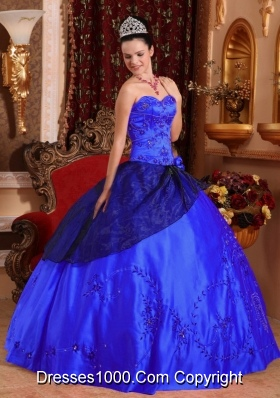 2014 Lovely Dark Blue Puffy Sweetheart Quinceanera Dress with Embroidery with Beading