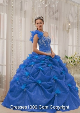 2014 Perfect Blue Puffy One-shoulder Quinceanera Dress with Appliques and Beading