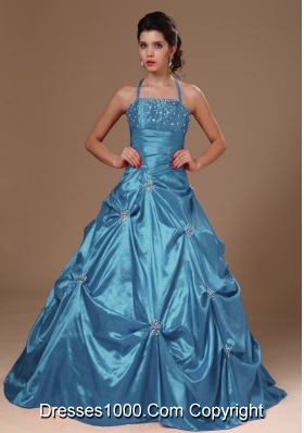 2014 Pick-ups Halter Quinceanera Dresses Princess in Teal