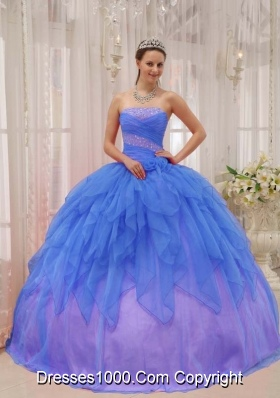 2014 Popular Blue Puffy Strapless Quinceanera Dress with Beading and Ruffles