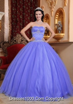 2014 Purple Ball Gown Sweetheart Quinceanera Dress with Beading and Appliques