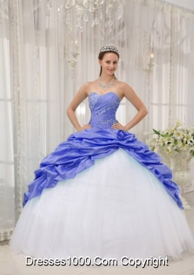 2014 Purple Puffy Sweetheart Beading Quinceanera Dress with Pick-ups