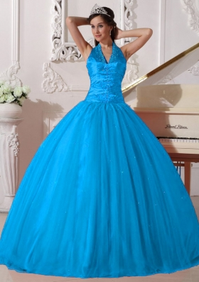 2014 Quinceanera Dress in Baby Blue Puffy V-neck with Beading