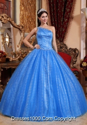 2014 Quinceanera Dress in Blue Puffy One Shoulder with Beading