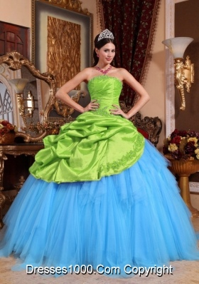 2014 Quinceanera Dress in Colourful Ball Gown Strapless with Appliques and Beading