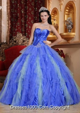 2014 Royal Blue Puffy Sweetheart Beading Quinceanera Dress with Ruffles