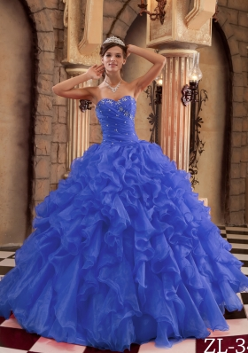 2014 Simple Royal Blue Sweetheart Puffy Ruffles Quinceanera Dress with Beading