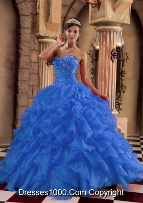 2014 the Super Hot Blue Puffy Sweetheart Ruffles Quinceanera Dress with Beading