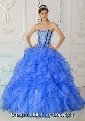 Affordable Blue Puffy Strapless Appliques for 2014 Quinceanera Dress with Ruffles