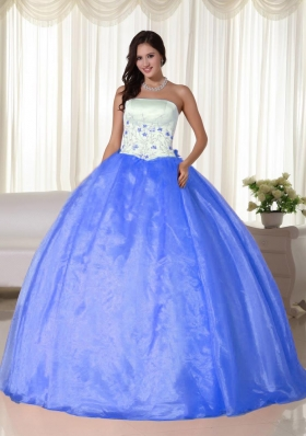 Aqua Blue Ball Gown Strapless Floor-length Organza for 2014 Quinceanera Dress