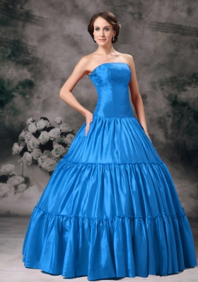 Aqua Blue Ball Gown Strapless Floor-length Taffeta Ruched Quinceanera Dress for 2014