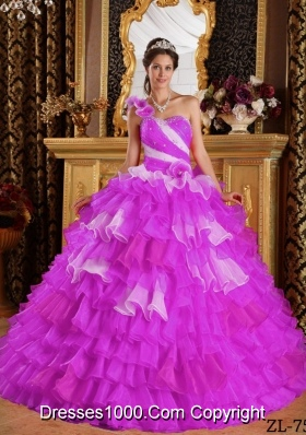 Beautiful One Shoulder Organza Ruffles and Beading Quinceanera Dress