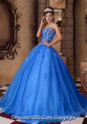Blue Princess Sweetheart for 2014  Beading Quinceanera Dress with Appliques