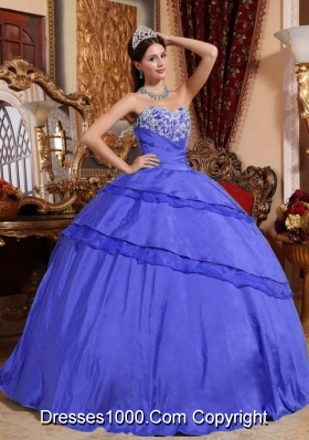 Blue Puffy Quinceanera Dress for 2014 Sweetheart with Appliques and Beading