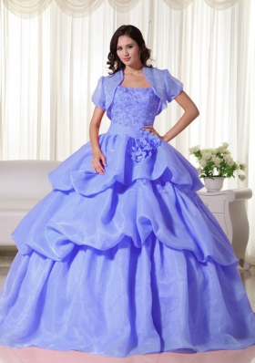Blue Puffy Strapless Hand Flowers for 2014 Quinceanera Dress with Pick-ups