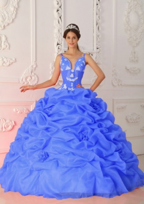 Blue Puffy Straps for 2014 Appliques Quinceanera Dress with Pick-ups and Hand Made Flowers