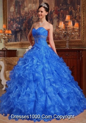 Blue Puffy Sweetheart for 2014 Beading Quinceanera Dress with Ruffles