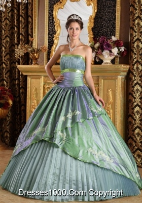 Brand New Appliques Quinceanera Dress in Olive Green Puffy Strapless for 2014