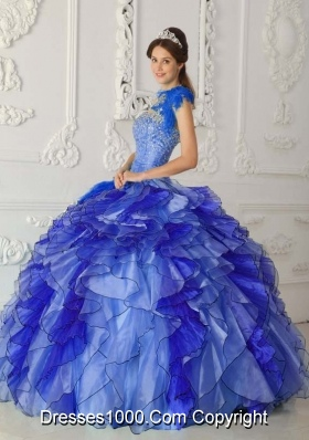 Discount Royal Blue Puffy Strapless for 2014 Beading Quinceanera Dress with Ruffles