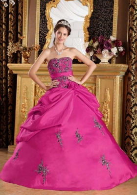 Discount Strapless Taffeta Fuchsia Quinceanera Dress with Appliques