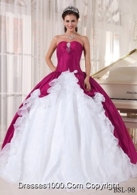 Fuchsia and White Ball Gown Sweetheart Floor-length Organza and Taffeta Beading Quinceanera Dress