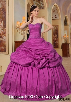 Fuchsia Ball Gown Sweetheart Floor-length Taffeta Beading Quinceanera Dress