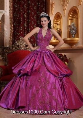 Fuchsia Halter Top Neck Taffeta Appliques Decorate Sweet Sixteen Dresses