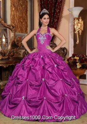 Fuchsia Halter Top Taffeta Appliques and Pick-ups Quinceanera Gowns