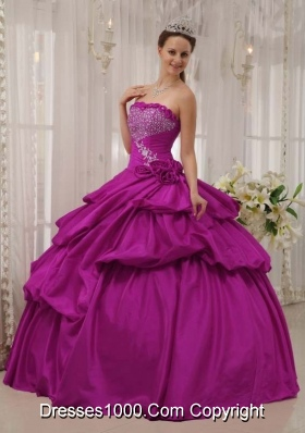 Fuchsia Strapless Beading and Hand Made Flowers Sweet Sixteen Dresses