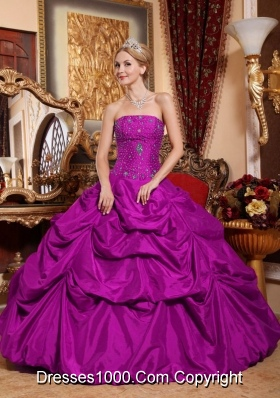 Fuchsia Strapless Taffeta Quinceanera Dress with Beading and Pick-ups