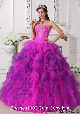 Fuchsia Sweetheart Satin and Organza Quinceanera Gown with Embroidery