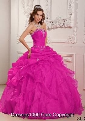 Hot Pink Ball Gown Strapless Floor-length Organza Beading And Ruffles Quinceanera Dress