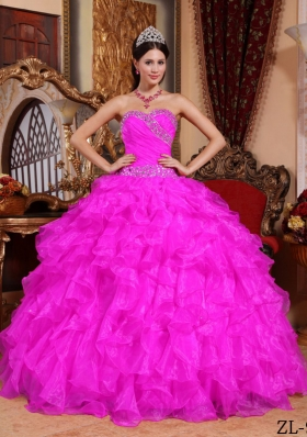 Hot Pink Ball Gown Sweetheart Floor-length Organza Beading Quinceanera Dress