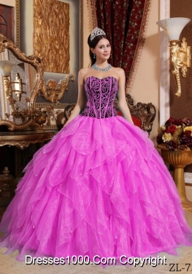 Hot Pink Ball Gown Sweetheart Floor-length Organza Embroidery with Beading Quinceanera Dress
