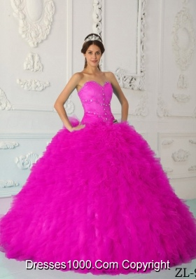 Hot Pink Ball Gown Sweetheart Floor-length Satin and Organza Beading Quinceanera Dress