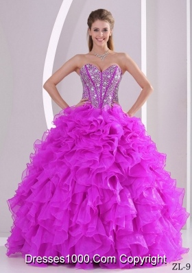 Ruffles Ball Gown Sweetheart Beaded Decorate Quinceanera Gowns in Sweet 16