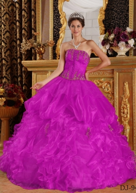 Strapless Appliques and Pick-ups Organza Quinceanera Dress in Fuchsia
