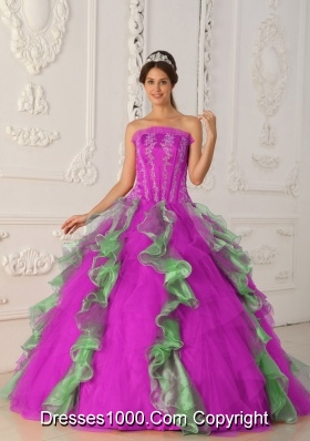 Strapless Fuchsia and Green Quinceanera Gowns with Appliques and Beading