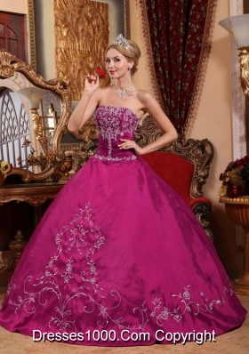 Strapless Fuchsia Satin Quinceanera Dress with White Embroidery