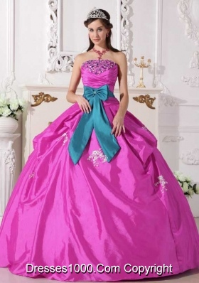 Strapless Taffeta Beading and Appliques Quinceanera Dress for Clearance