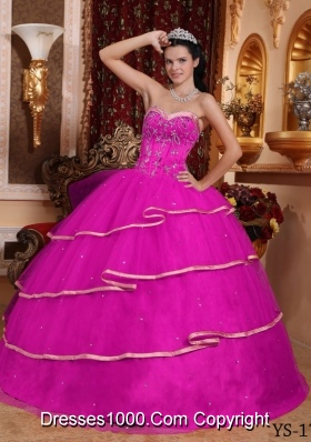 Sweetheart Satin and Tulle Beaded Decorate Bodice Quinceanera Gown