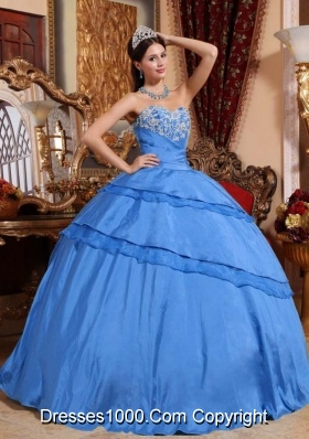 2014 Blue Ball Gown Sweetheart Appliques Quinceanera Dress with Beading
