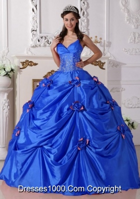 2014 Blue Puffy Spaghetti Straps Quinceanera Dress with Beading and Hand Made Flower