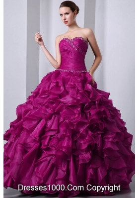 A-Line / Princess Sweetheart Organza Beading and Rufffles Quinceanea Dress