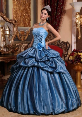 Aqua Blue Puffy Strapless for 2014 Hand Made Flower Quinceanera Dress with Pick-ups